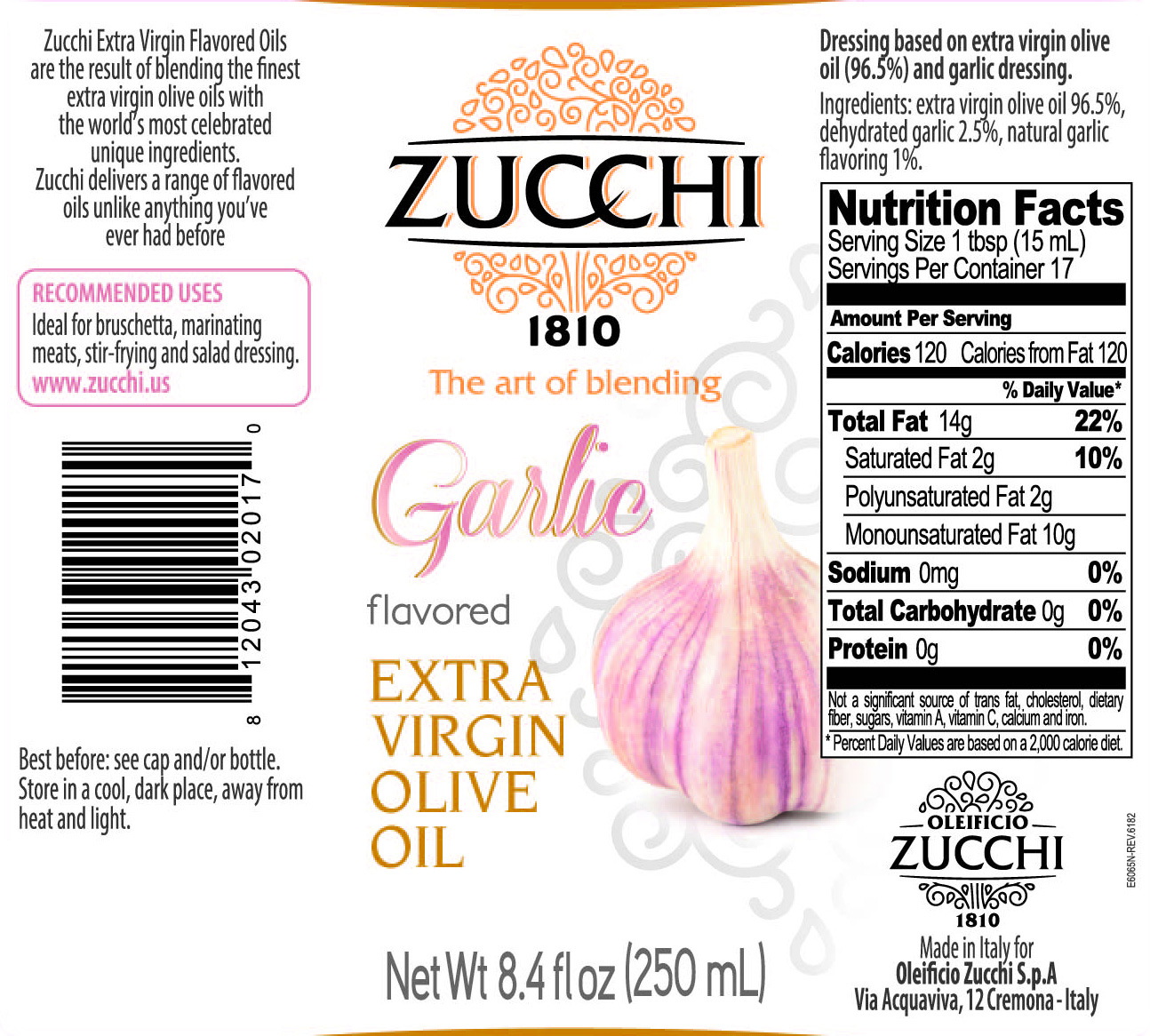 E6065N-Zucchi condimento aglio 250ml USA