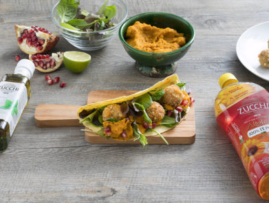 ricetta-tacos-polpettine-crema-zucca-basilico-Zucchi