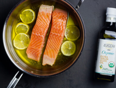 Olive Oil Poached Salmon with Zucchi Organic Extra Virgin Olive Oil