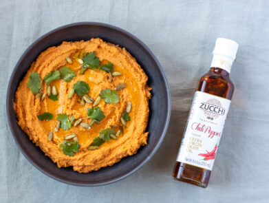 Spicy Carrot Hummus - Zucchi Chili Pepper Flavored Extra Virgin Olive Oil