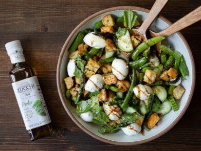 Spring Pesto Panzanella Salad